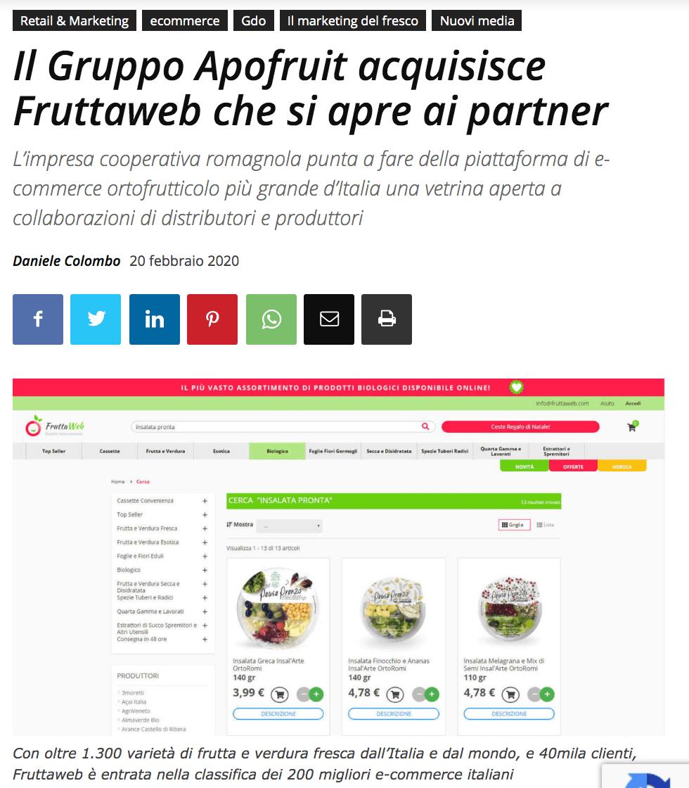 Acquisizione FruttaWeb